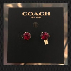 Coach Gold Stud Earrings Round Faux Ruby Stone